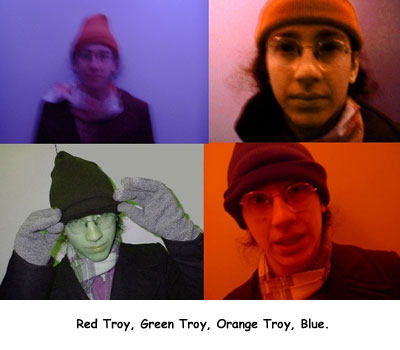 Red Troy, Green Troy, Orange Troy, Blue.